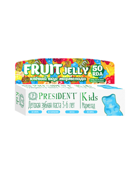 Детская зубная паста PRESIDENT® KIDS 3-6 FRUIT JELLY со вкусом мармелада 50 мл.