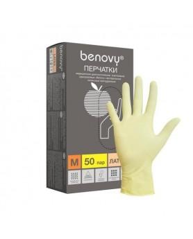 Перчатки L 8-9 Benovy латекс 100шт.
