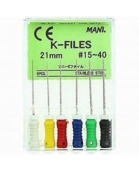 К-файлы 21мм № 15-40 Мани (6шт)