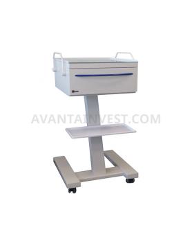 Столик имплантолога СТИ-1 мобильный с ящиком (2 розетки)